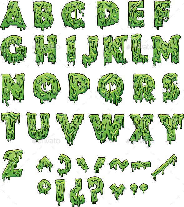 Green slime letters. Vector clip art illustration with