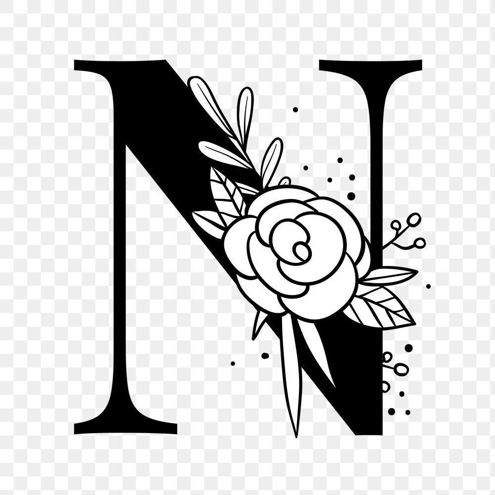 Png Letter N Floral Font Typography Free Image By Rawpixel Com Tvzsu Floral Font Floral Letters Lettering