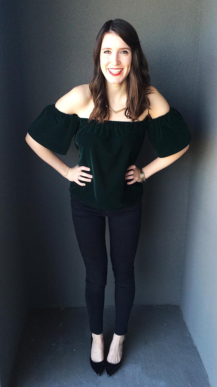 Velvet Off the Shoulder Holiday Top Sewing Tutorial | Diy ...