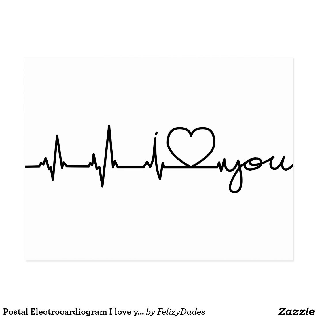 Electrocardiogram I postal love you Carte Postale