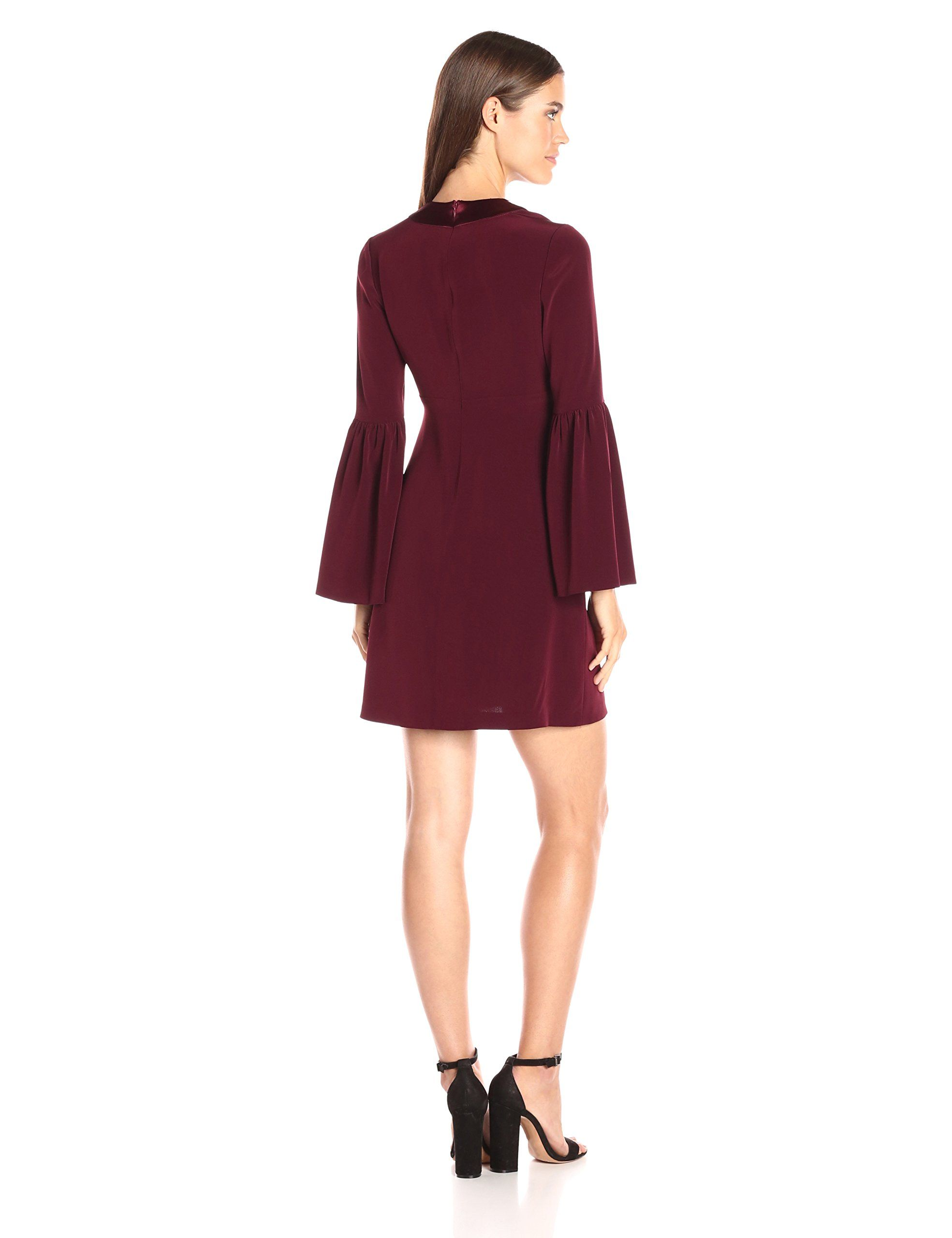 Jill jill stuart womens deepv long sleeved cocktail dress oxblood