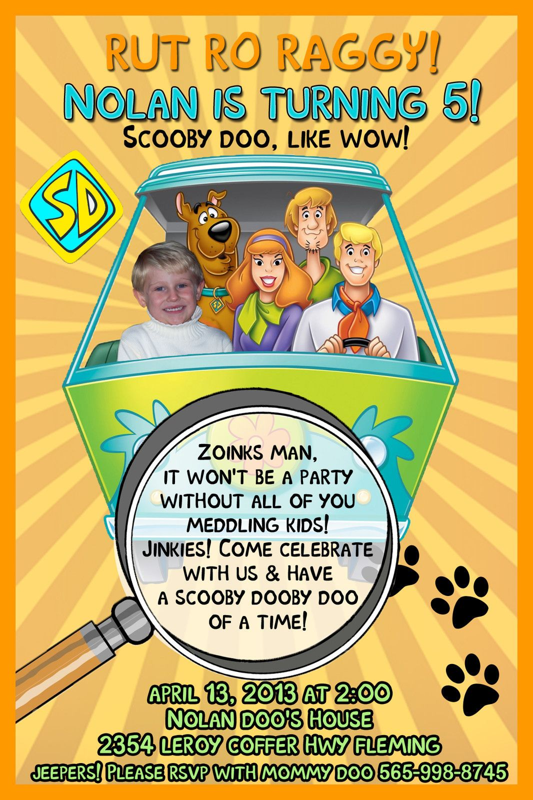 Scooby Doo Birthday Party Photo Invitations Thank You Card In 2018