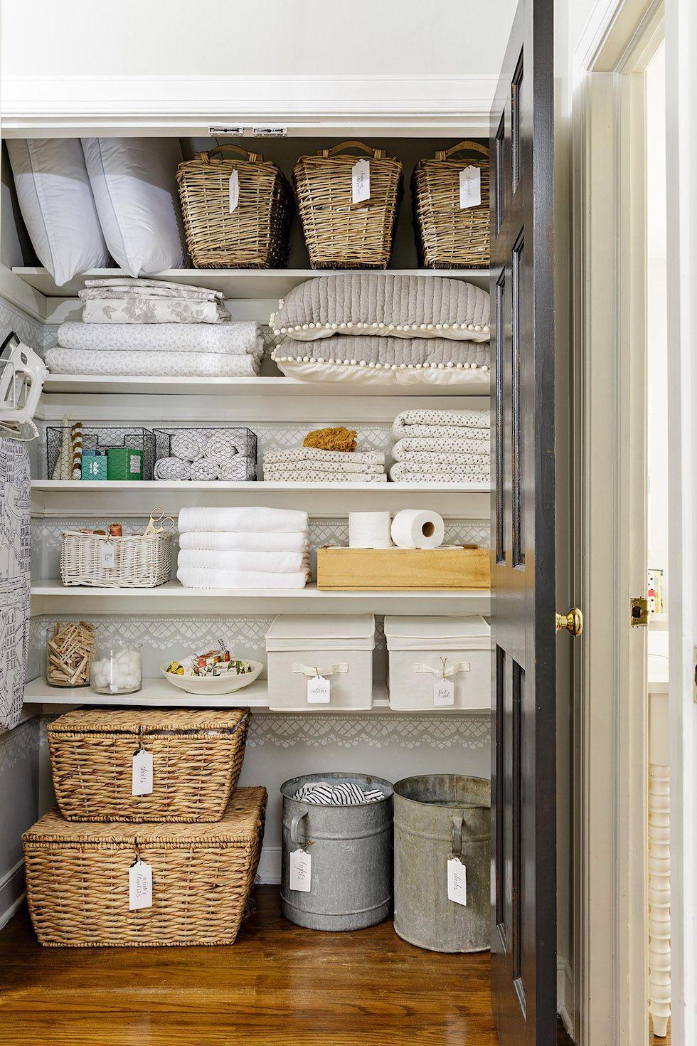 Linen Closet Organization Ideas The Inspired Room In 2021 Linen Closet Organization Organizing Linens Linen Closet