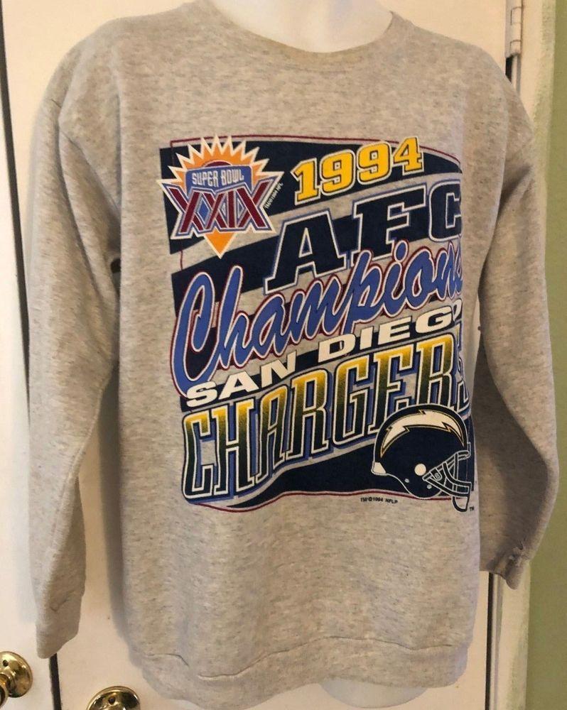 917cbb5a2 Vintage 90s 1994 NFL San Diego CHARGERS AFC CHAMPS Crewneck Sweatshirt Size  L  Tultex  SweatshirtCrew