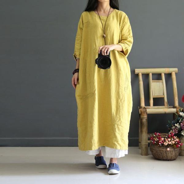 Yellow Casual loose retro linen autumn dress