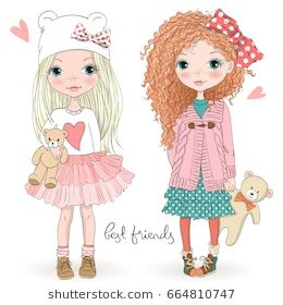Two Hand Drawn Beautiful Cute Little Girls With Teddy Bears On The