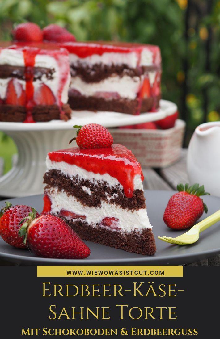 Erdbeer-Käsesahne-Torte mit Schokoboden und Erdbeerguss - wiewowasistgut.com