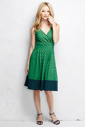 """I have two dresses like this — one sleeveless, one short sleeve — and they both flattering and comfortable (no Spanx needed!). Women's Fit and Flare Dress - Emerald Glow Pieced Print from Lands' End - Tall - $69 (41""""); Regular - $59 (38"""")"""
