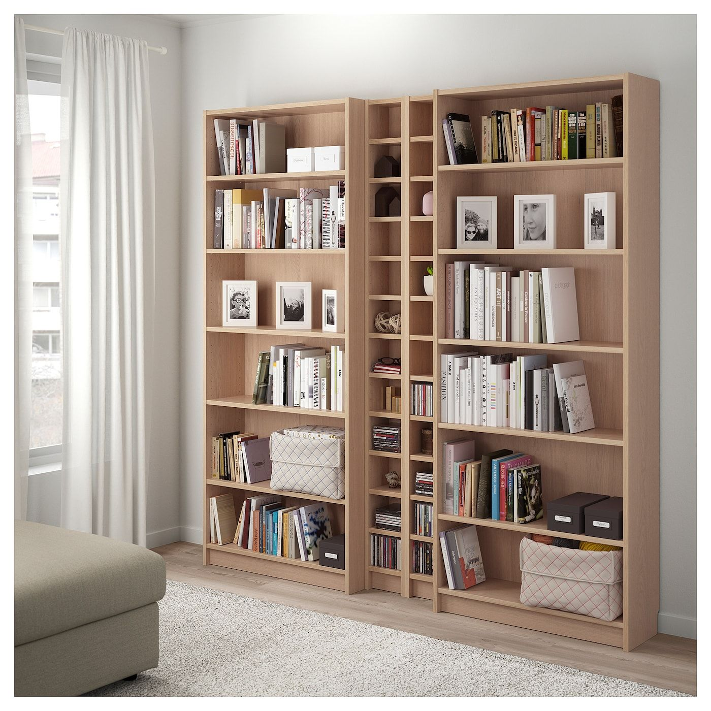 BILLY / GNEDBY Bookcase - white stained oak veneer ...