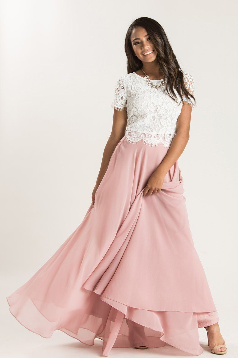 With Flowy Layers And A Flattering Silhouette The Petite Amelia Full Rose Maxi With Images White Lace Short Sleeve Top Lace Short Sleeve Top Pink Skirt Outfits
