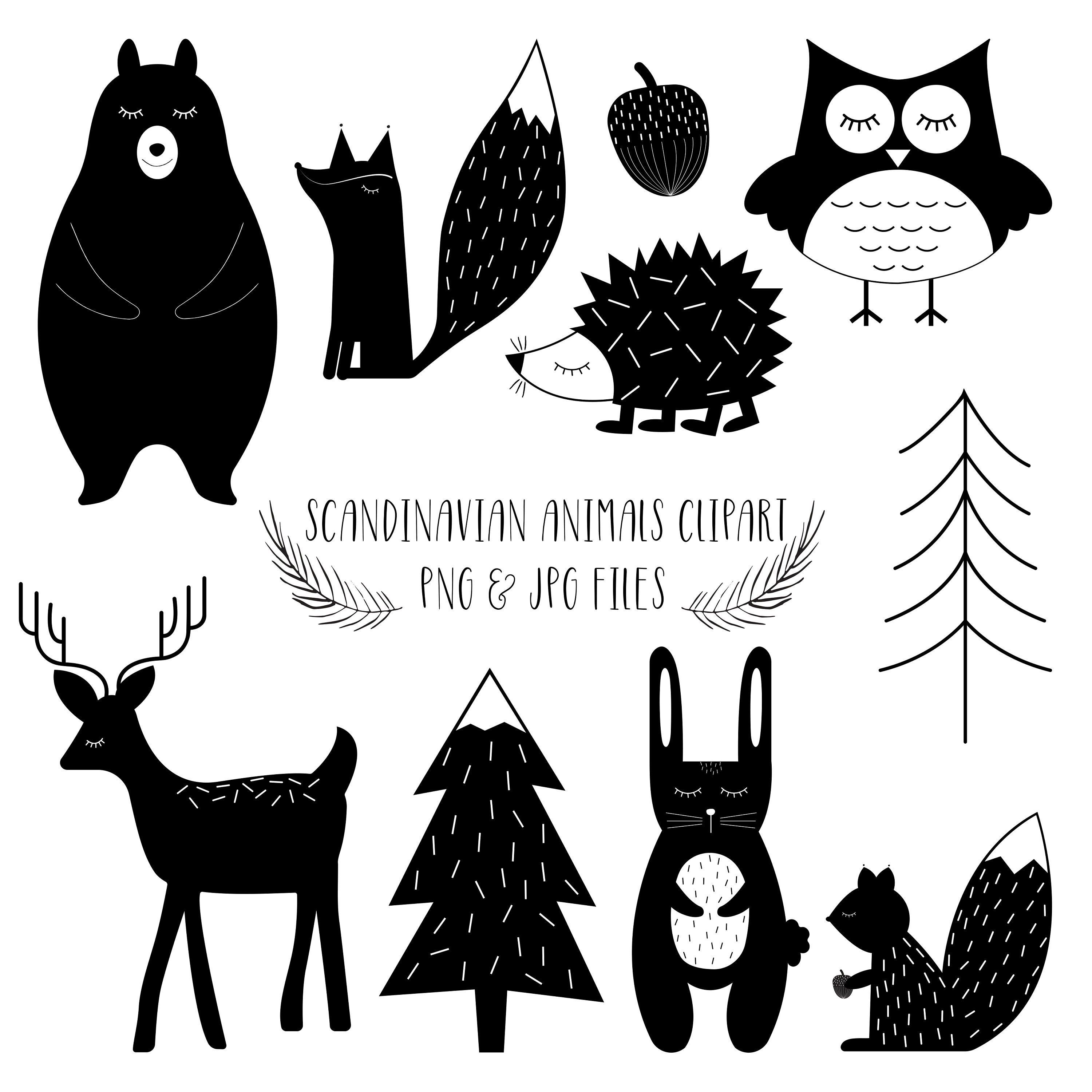 Scandinavian Animal Clipart By Pixie Paper Paper Clip Art Animal Clipart Art Prints For Sale