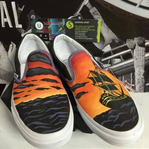 Vans Slip on Black Sails Pirates Custom Paint Shoes Pirati Galeone HANDMADE