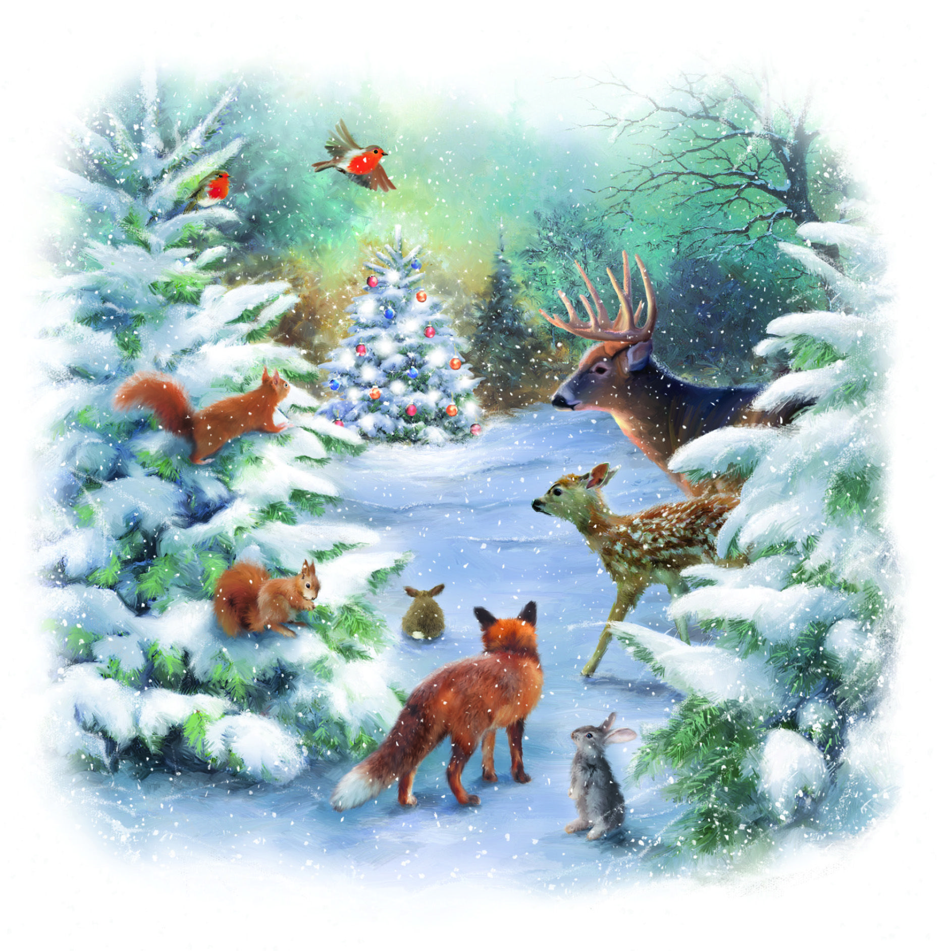 Woodland Animals Charity Christmas Card Woodland