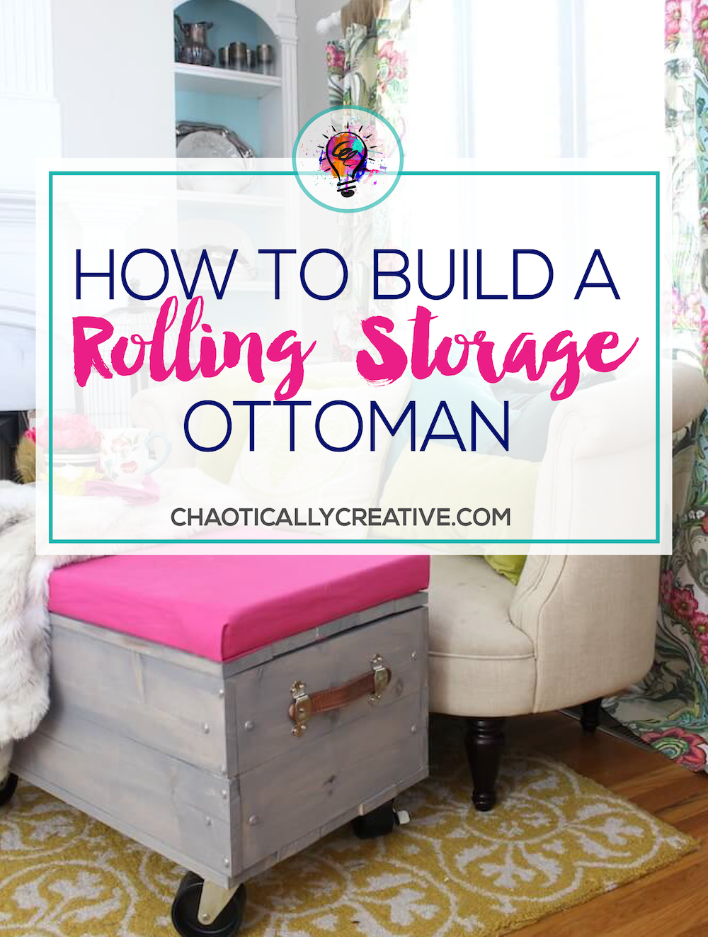 DIY Rolling Storage Ottoman Ottomans Storage and Funky junk