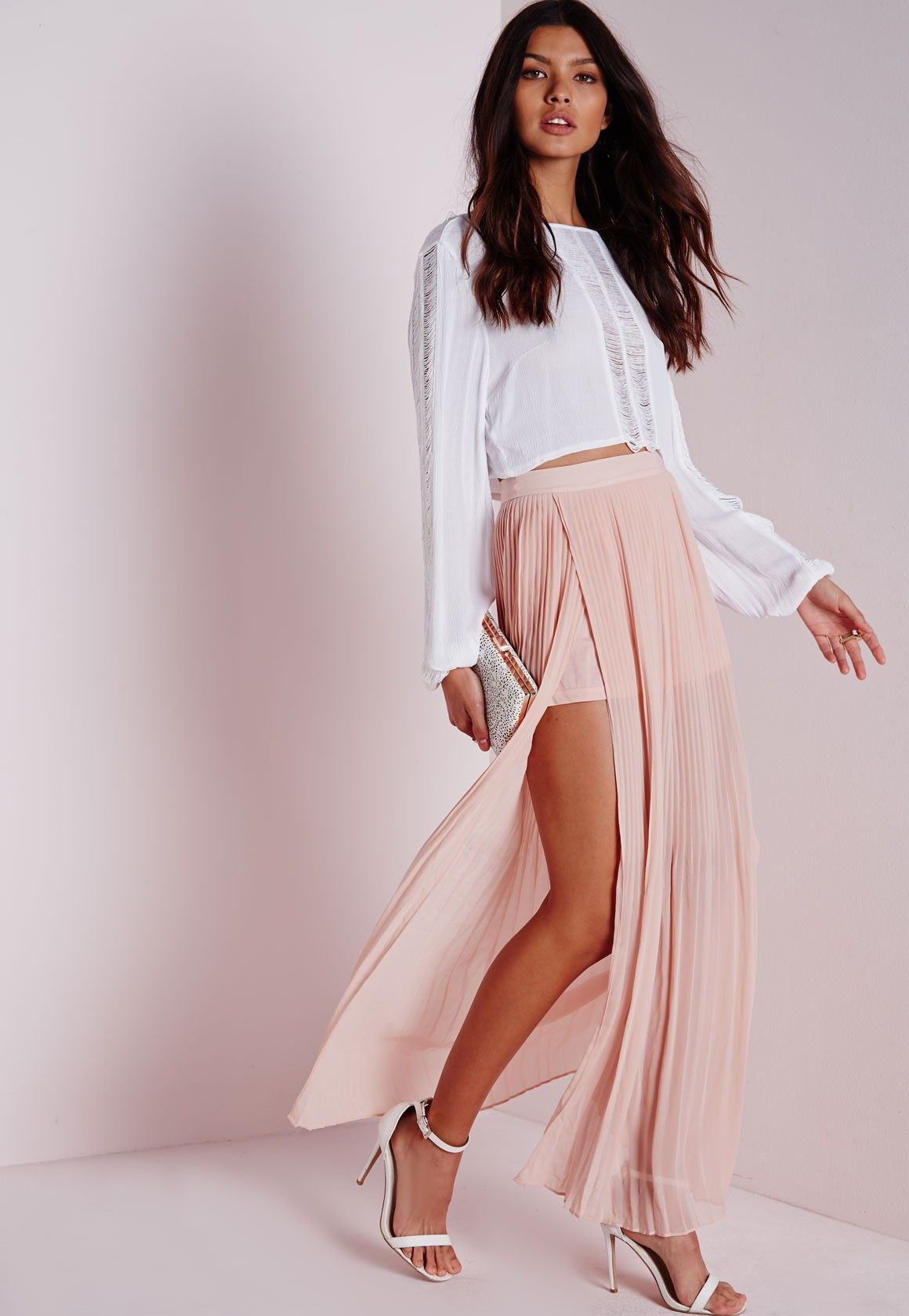 Split side pleated maxi skirt nude outfit pinterest pleated
