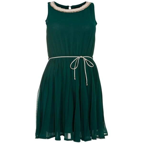 Tenki Green Chain Neck Sleeveless Dress ( 43) ❤ liked on Polyvore ... df0888fa18