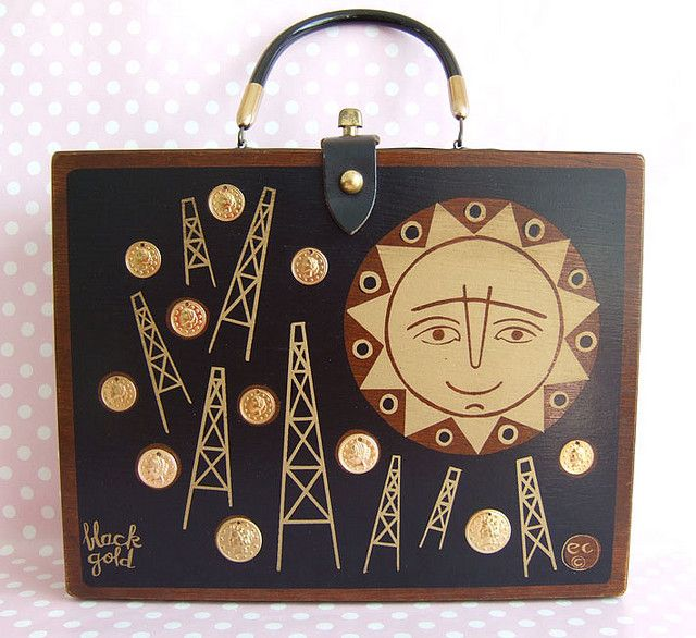 Enid Collins Black Gold box bag; sun and oil rigs and coins