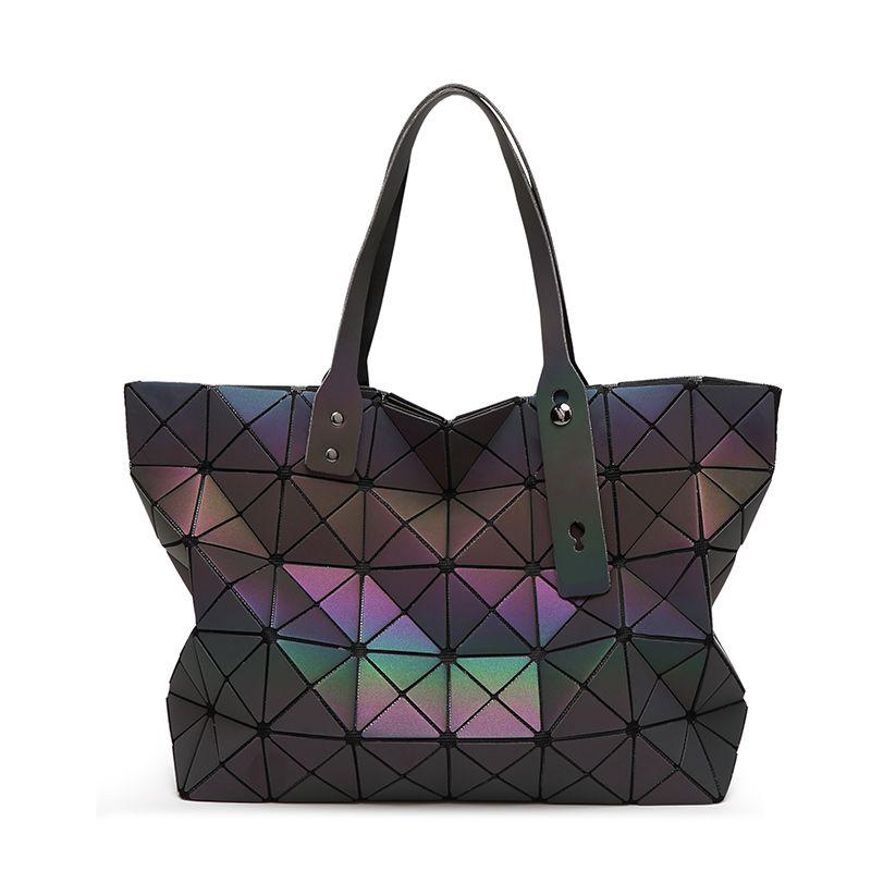 487c324705 Famous Brands Women BaoBao Bag Geometry Sequins Mirror Saser Plain Folding  Bags Luminous Handbags PU Casual Tote Bao Bao Package-in Shoulder Bags from  ...
