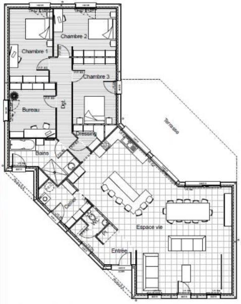 Plan De Maison En V Plain Pied In 2020 Hexagon House House Plans How To Plan