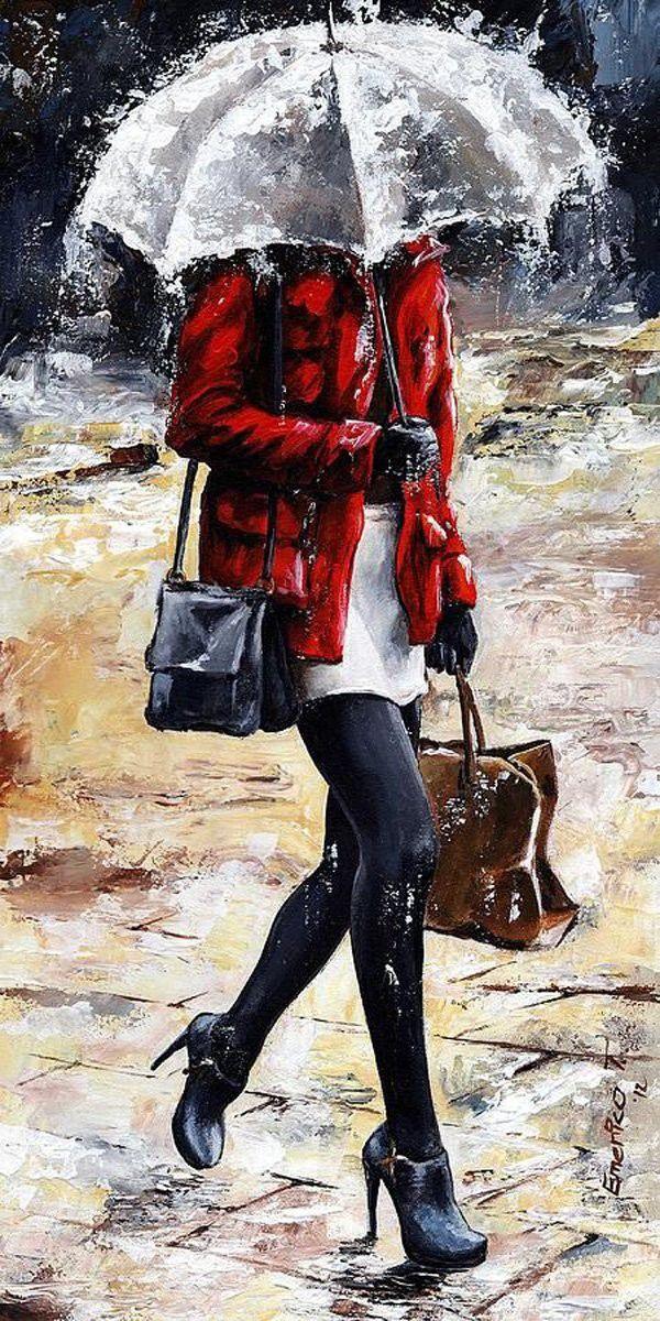 Картинки девушка под дождем с зонтом нарисованные
