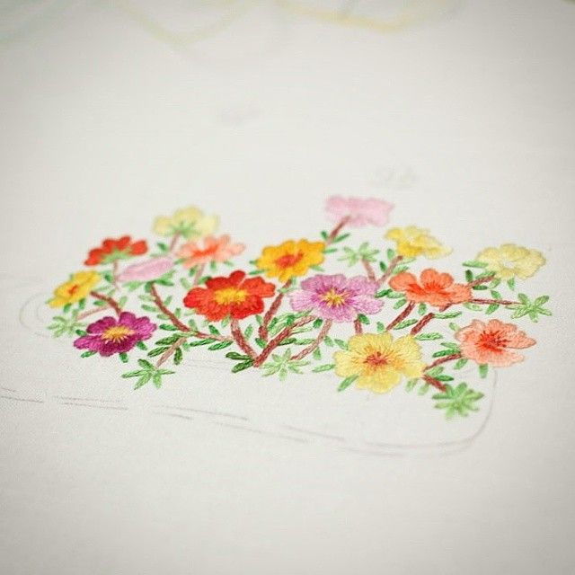 #야생화자수 #채송화 #꽃밭 #꿈소 #꿈을짓는바느질공작소 #embroidery #portulaca #flowergarden