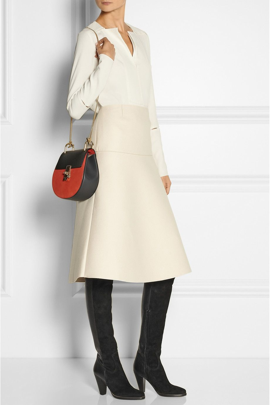 "Chloé | Suede and textured-leather over-the-knee boots | NET-A-PORTER.COM $1370, 3.5""/0.5"""
