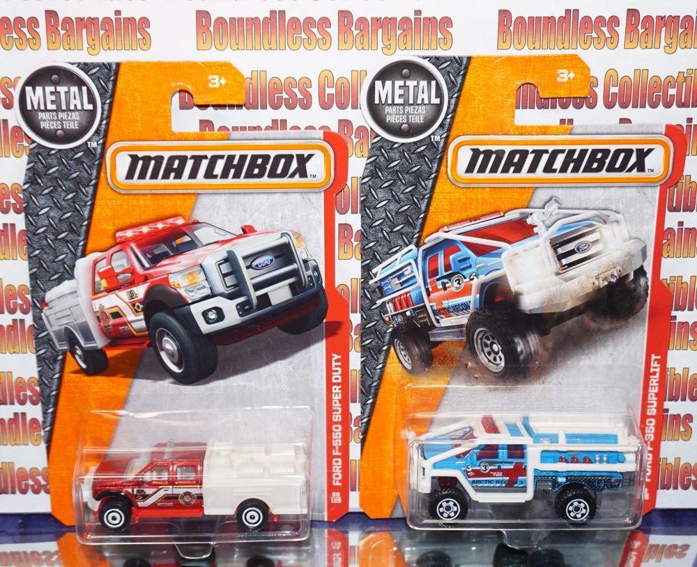 Matchbox Lot Of 2 F550 Super Duty Fire Truck Ford F350 Superlift Blue Heroic Fire Trucks Ford Trucks Ford F350