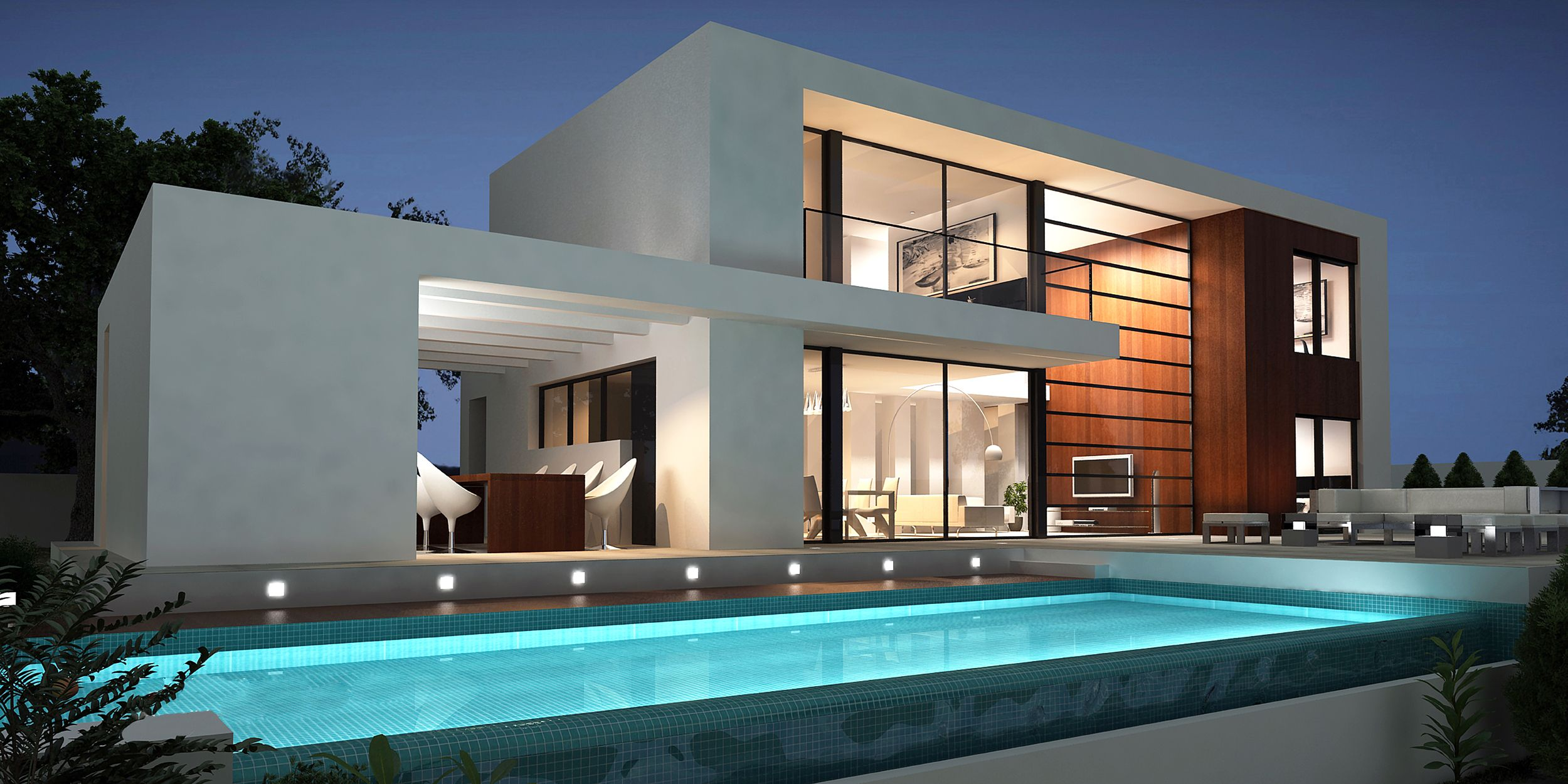 Astounding modern villa design with exotic backyard pool for Villa design ideas