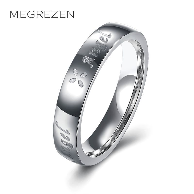 Megrezen Stainless Steel Engagement Rings Decorations For Women Vintage Ring Anillos De Acero Inoxidable Para Las