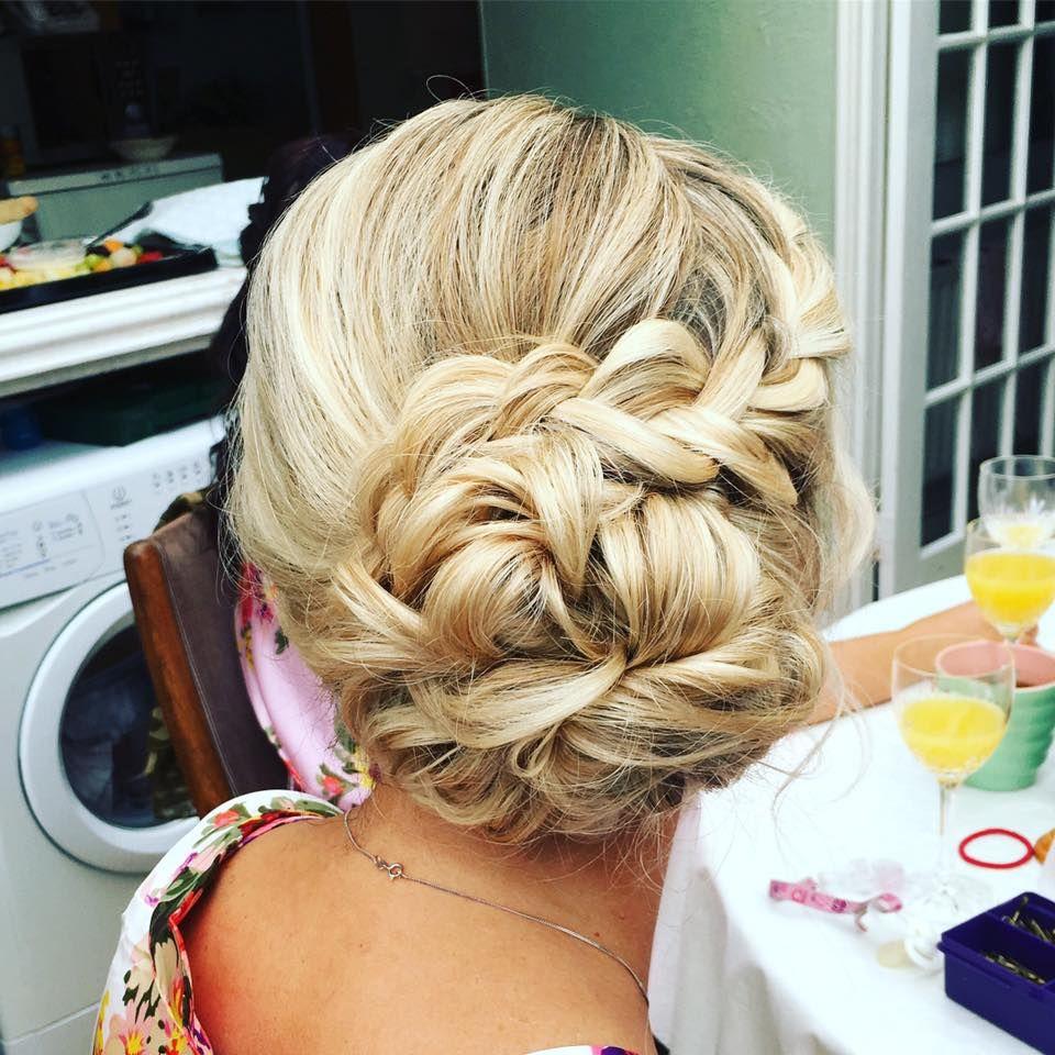 Messy side bun with dutch braid wedding hair updo hair and beauty
