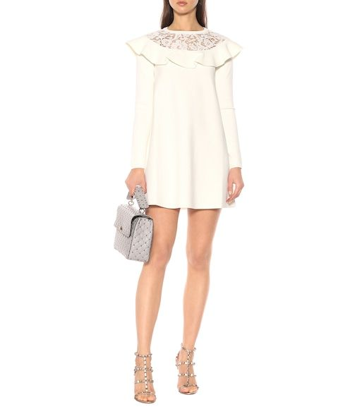 07b695f2228 Valentino - Lace-trimmed knit minidress - mytheresa.com