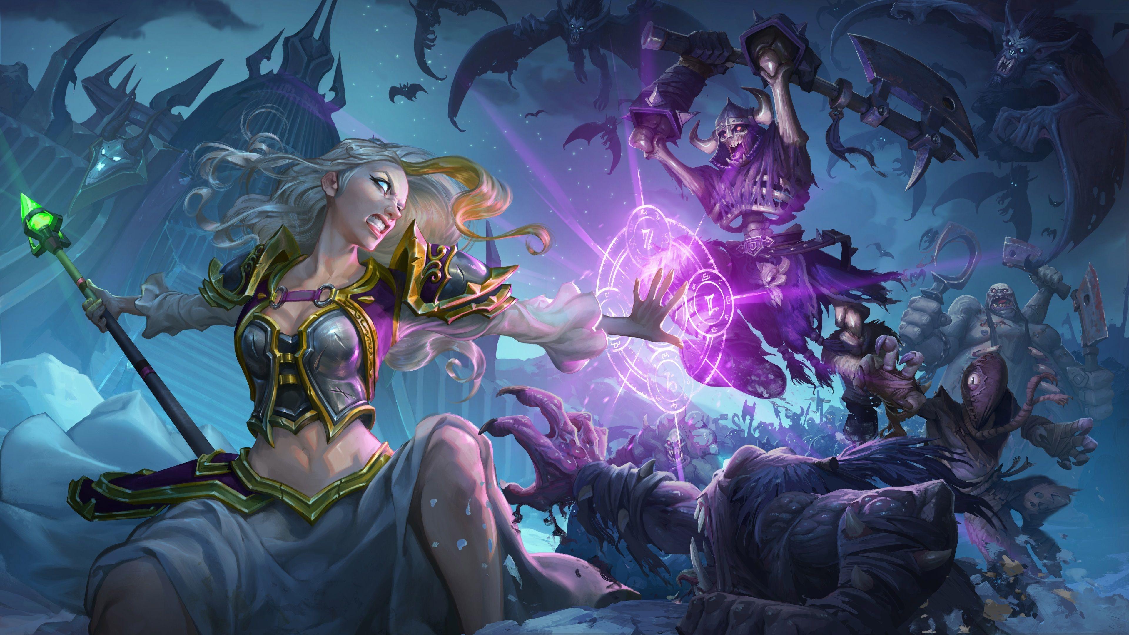 3840x2160 Knights Of The Frozen Throne 4k Free Wallpaper Desktop Background Warcraft Art Hearthstone Heroes Of Warcraft Hearthstone Wallpaper
