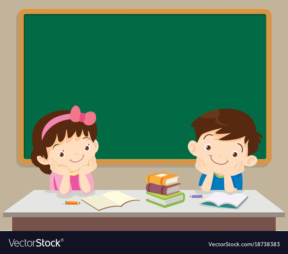 Students Boy And Girl Sitting In Front Of Chockboard Cute Kids Sit And Think In The Classroom Do Teacher Classroom Decorations Teacher Cartoon Student Cartoon