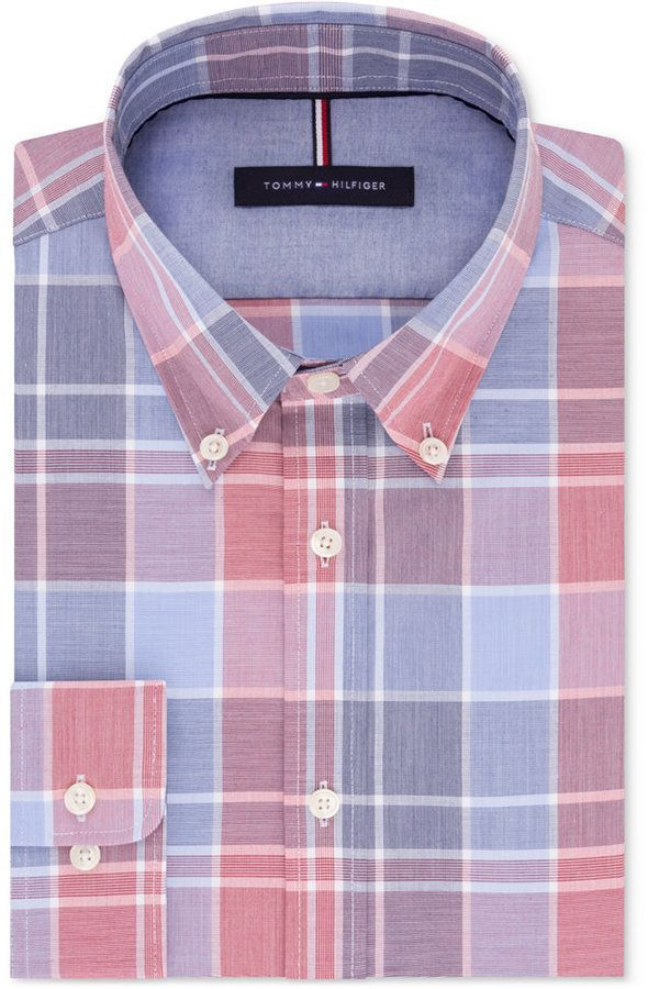f8753752 Tommy Hilfiger Men's Slim-Fit Soft Touch Non-Iron Red and Blue Plaid Dress  Shirt