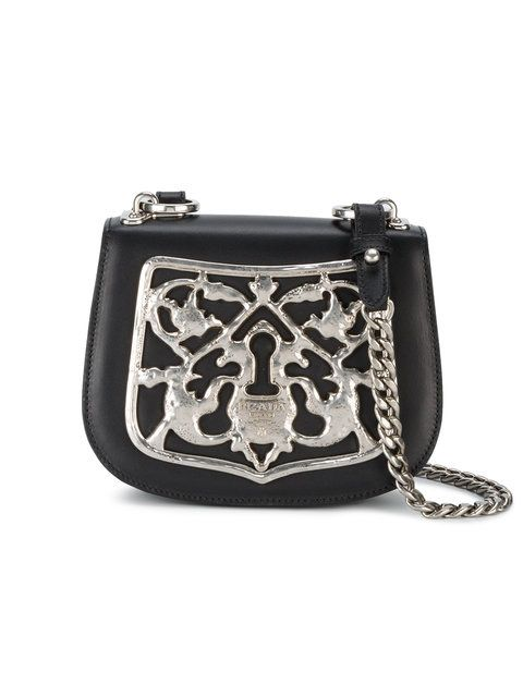 62e58d990463d6 Prada Black Piastra Metal Filigree Cross Body Bag | Totes Amazing ...