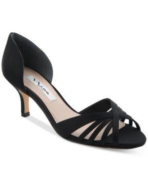 19990e0c44b Nina Coella d Orsay Peep-Toe Kitten-Heel Evening Sandals - Blue 7.5M ...