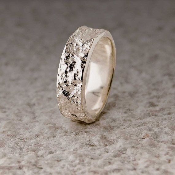 Bush Hammered Marble Textured Sterling Wedding Ring Old New