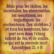Apocalypse 21 8 Mais Pour Les Laches Les Incredules Les Abominables Les Meurtriers Les Impudiques Les Enchanteurs Les Idol Le Menteur Apocalypse Evangile