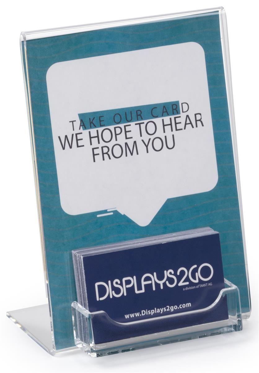 Workshop Series 5 X 7 Sign Frame With Business Card Pocket Slant Back Clear Business Card Displays Business Card Stand Display Cards