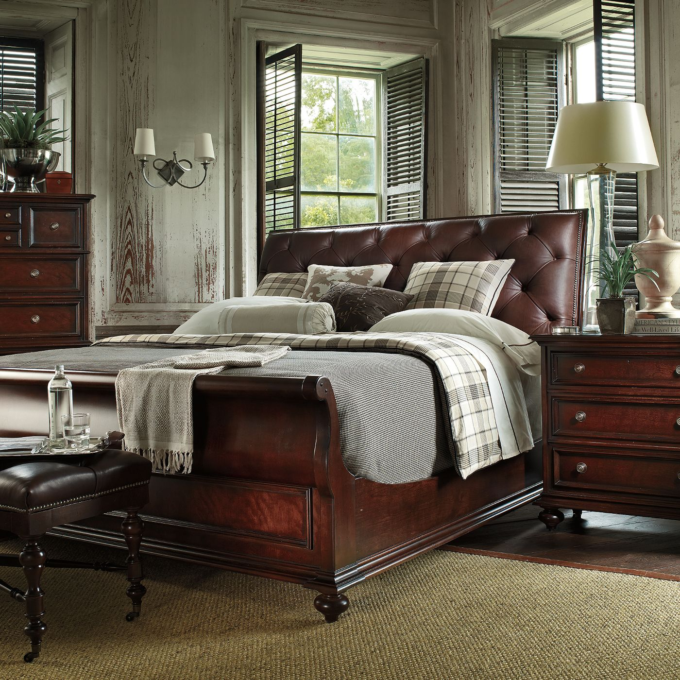 terrific leather bedroom furniture design | Stanley Furniture 933-13-3 City Club Saville Leather ...