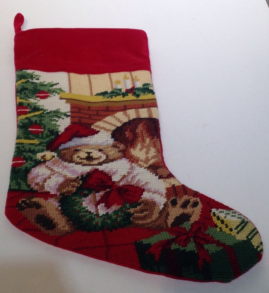 Handmade Christmas Stockings Handmade Needlepoint Teddy Bear Chimney Lillian Vernon Christmas
