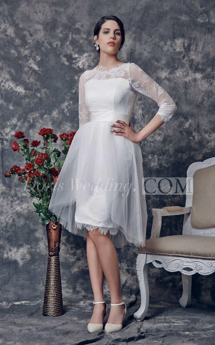 Scalloped-Edge Neckline A-line Knee-length Dress With Tiers