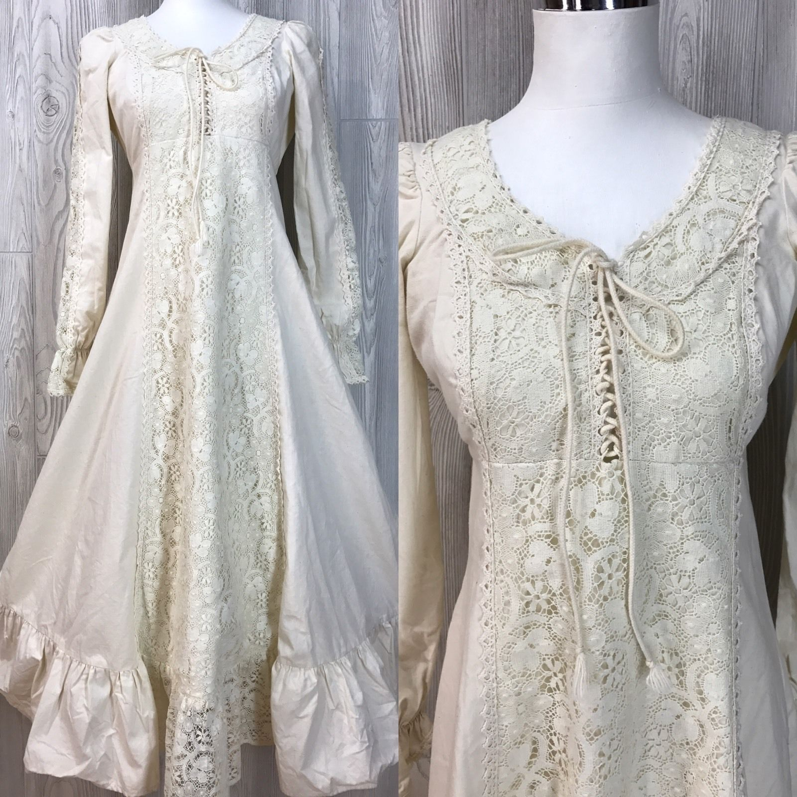 Vtg womens dress us hippy muslin lace gunne sax wedding dress
