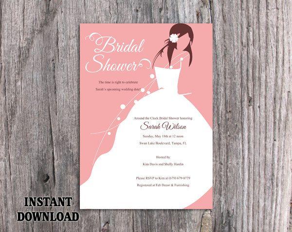 Diy Bridal Shower Invitation Template Printable Script Bridal