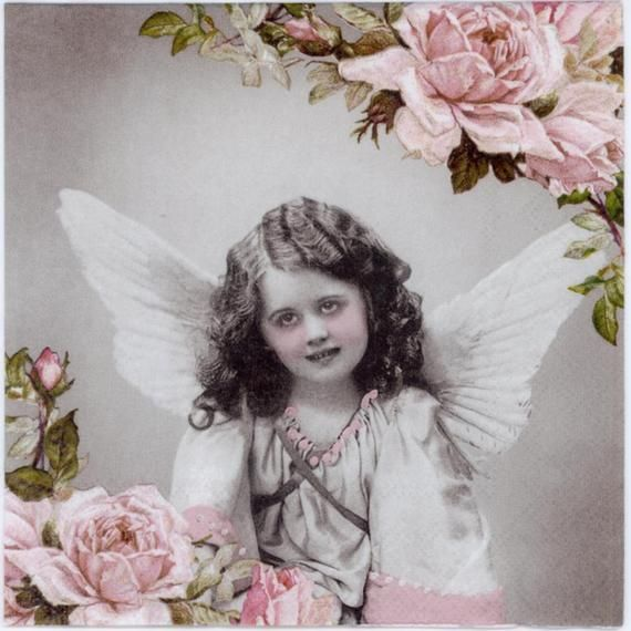 4 Decoupage Napkins Vintage Angel Girl And Roses