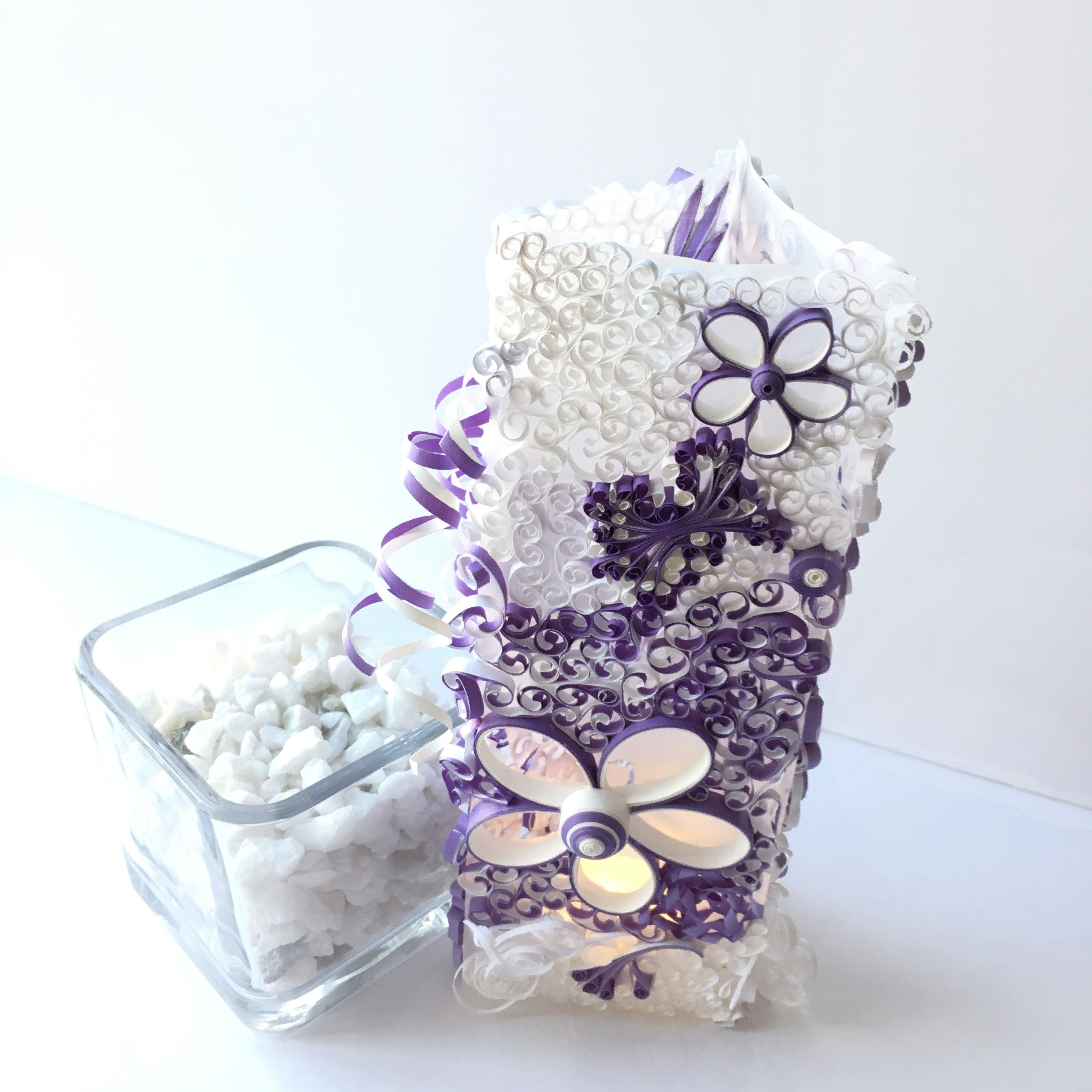 Quilling wedding decorations october 2018 Purple and White Luminary for Wedding Centerpiece or Personalized