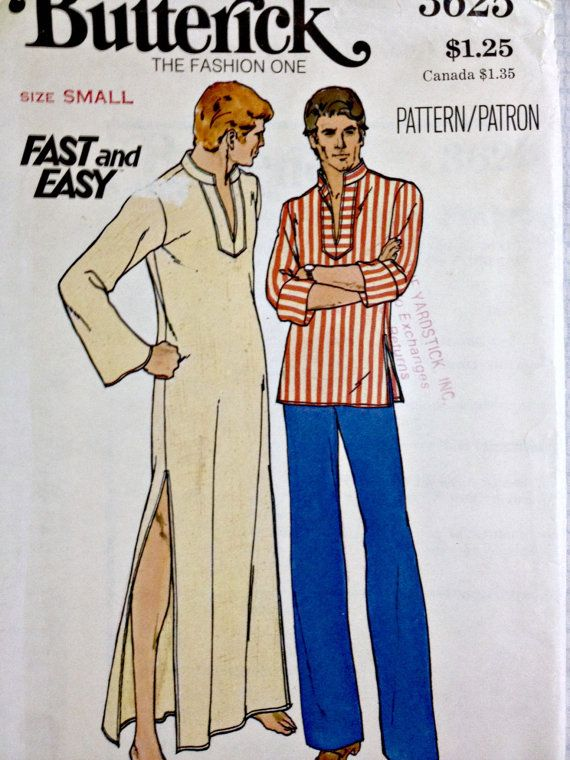 Men\'s Caftan or Tunic Vintage Butterick 3625 Sewing Pattern Size ...