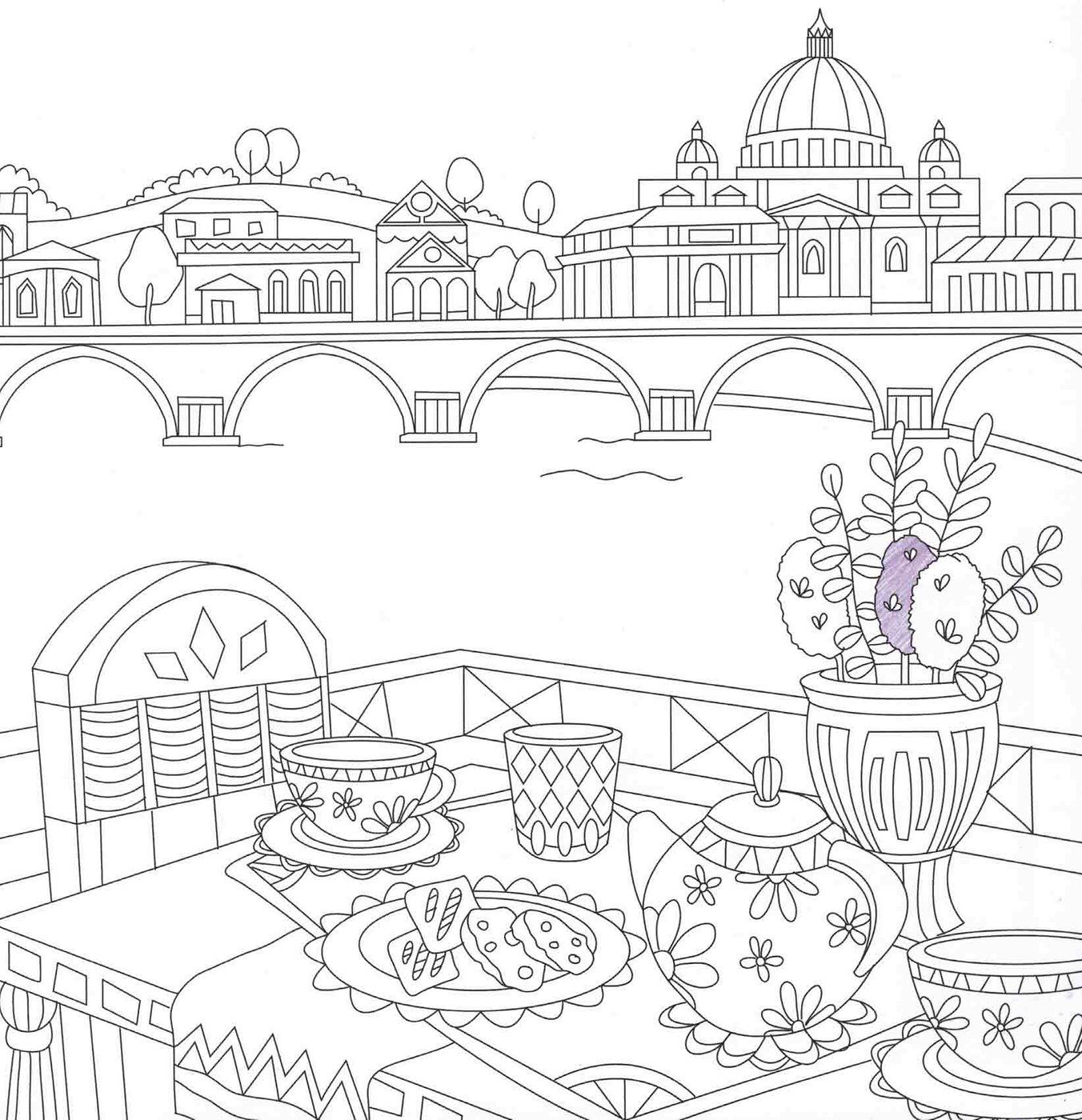 Italy Coloring Travel Coloringbook