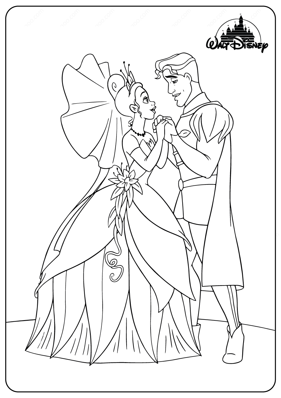 Disney Tiana And The Prince Coloring Pages In 2020 Princess Coloring Pages Disney Princess Coloring Pages Princess Coloring