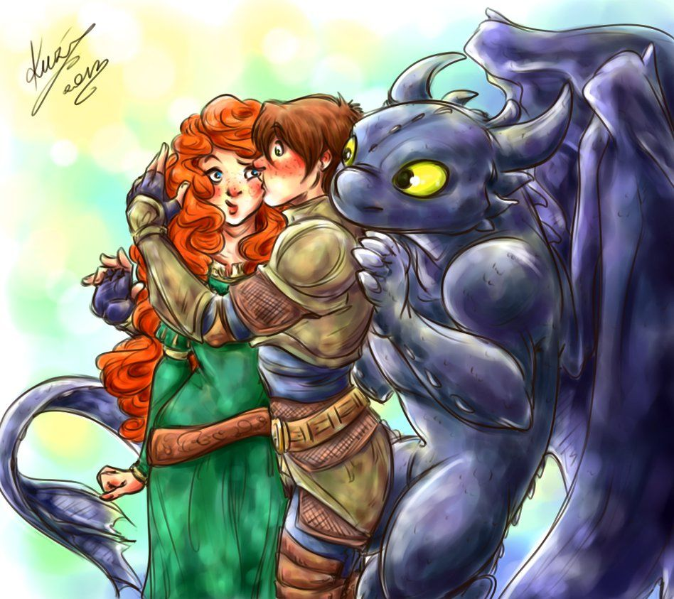 Sudden Kiss Merida, Hiccup, And Toothless Aww!